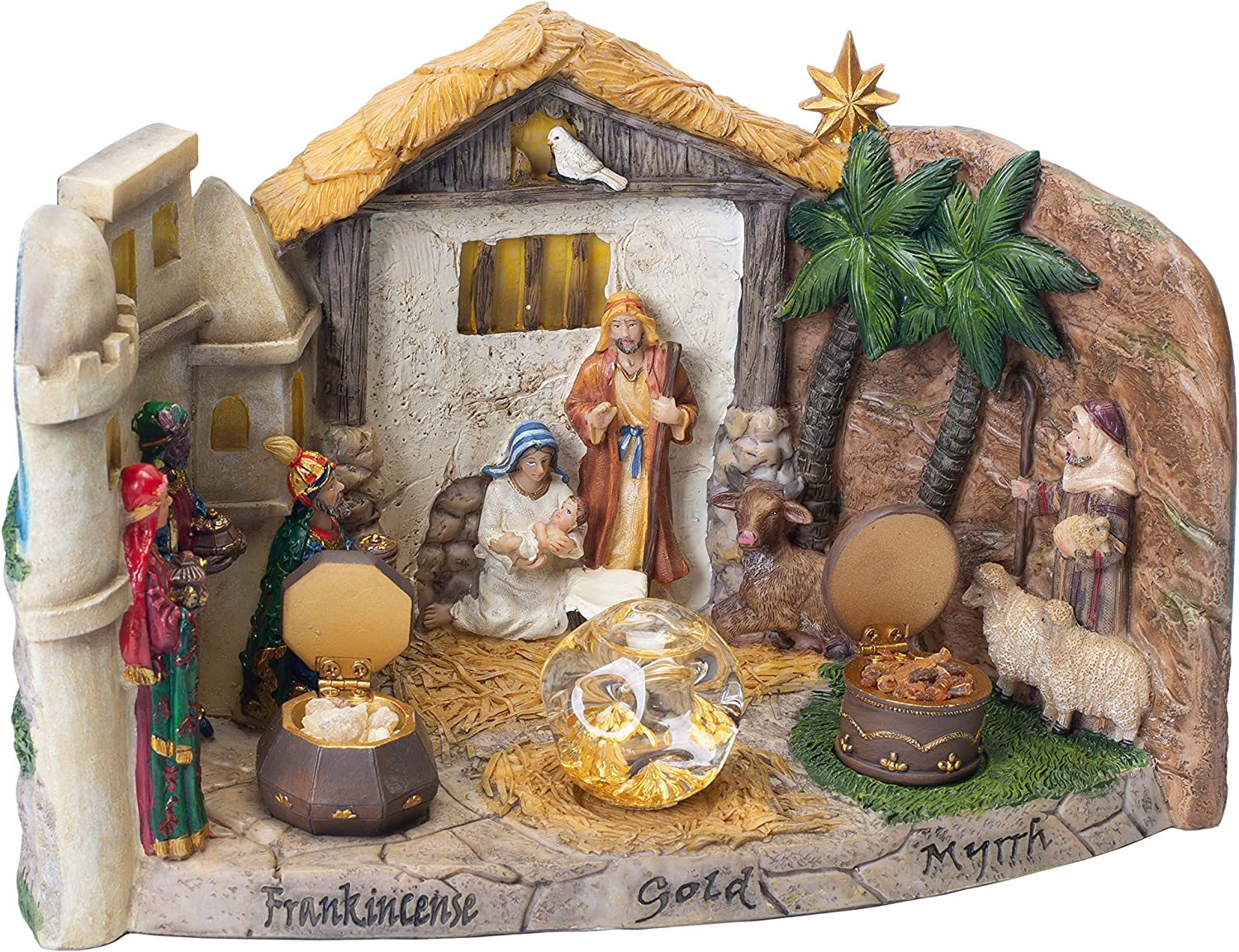 Three Kings Gifts The Original Gifts of Christmas Panorama Nativity Figurine Statue with Real Gold, Frankincense and Myrrh
