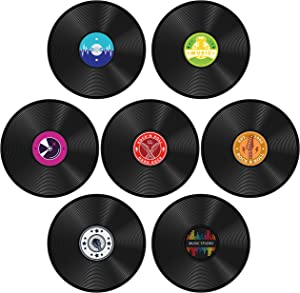 YINGENIVA 14PCS 1950's Rock and Roll Music Party Decoration, Paper Record Cutouts, Craft Room Aesthetic Decoration, Wall Decor Sign for 50's Theme Party Supply, Music Party Favor, Gift for Music Lover