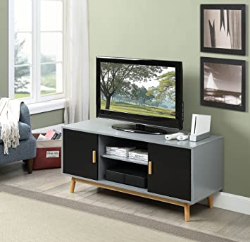 Amazon Com Convenience Concepts 205035gy Tv Stand Gray Black