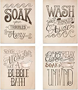 "Bathroom""Bubble-Bath Time"" Decoration Set- 4 Vintage Drawing Wall Prints- 8 x10""s Wall Decor- Ready To Frame.""Soak-Wash-Unwind-Relax""- Home Decor. Bathroom Decor to Celebrate the Cherished Bath!"