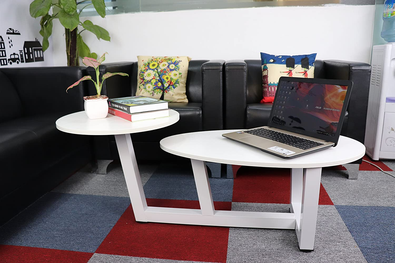 TUORUI Double Coffee Table, 2 Tiered Sofa Table