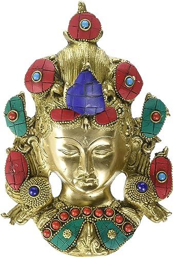 CraftVatika Brass Tara Buddha Wall Hanging Sculpture Tibetan Shakyamuni Greetings Mask