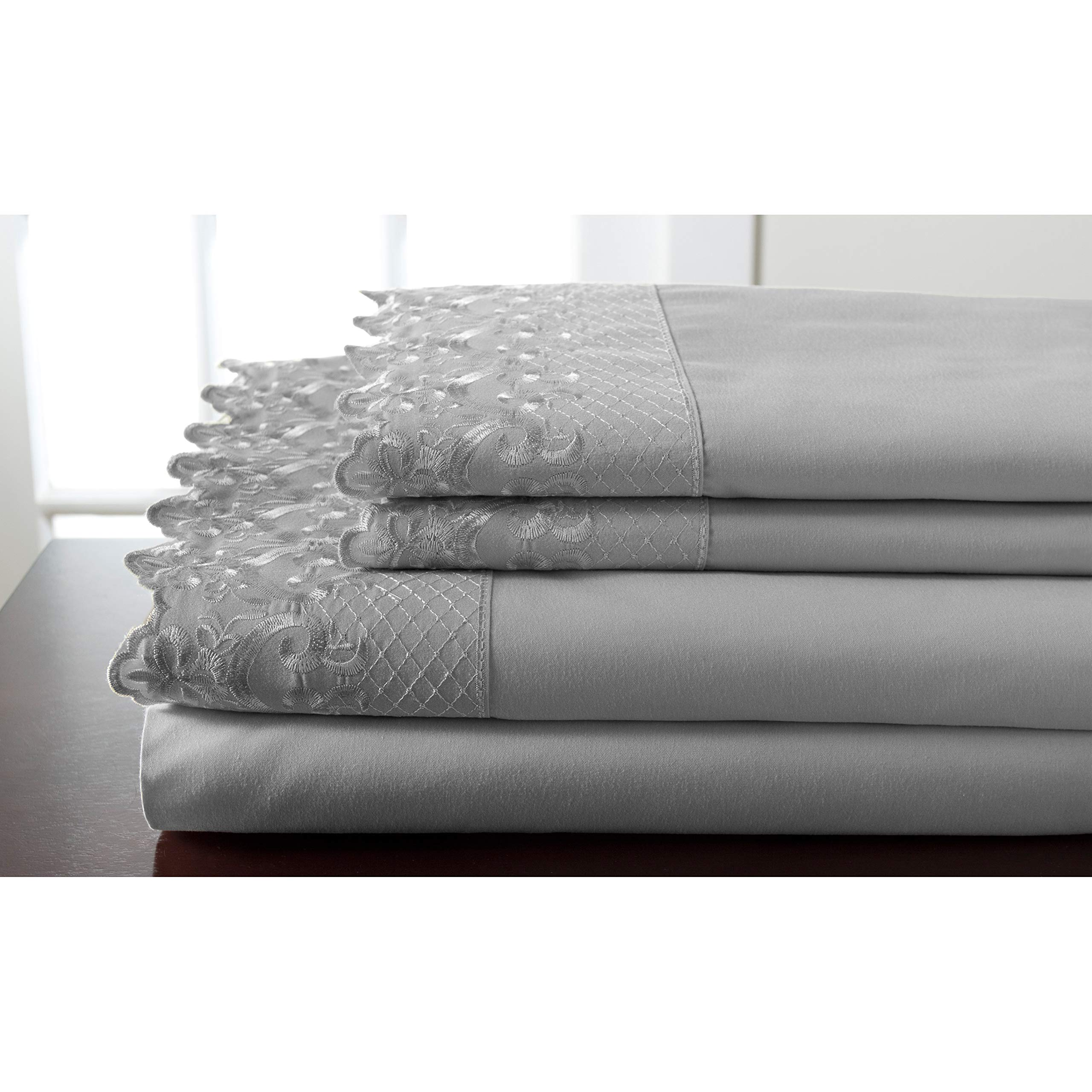 Elite Home Products, Inc. Hotel Lace Microfiber Sheet Set White 4 Piece King