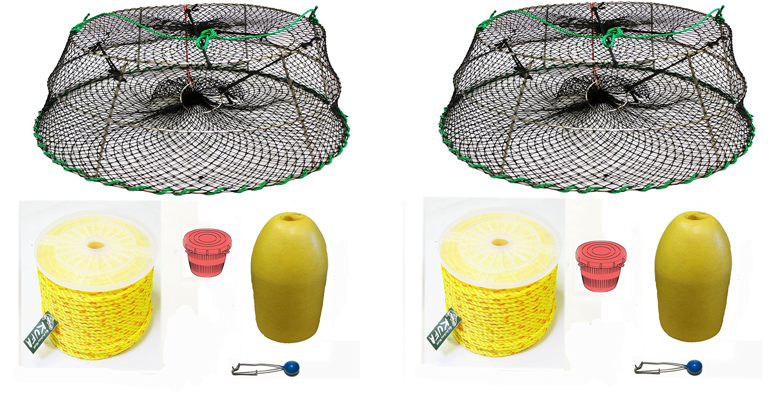 2-Pack of KUFA Sports Tower Style Prawn trap with 400' rope, Yellow float and Vented Bait Jar combo (CT77+PAP3)X2