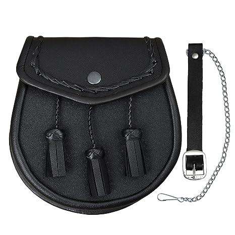 Bolso para Kilt escocés con borlas, cuero, color negro