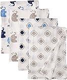 Bacati Elephants Set of 4 Muslin Swaddling Blankets, Blue/Grey
