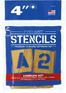 PRO ART 4-Inch Painting Stencil Set, Letters and Numbers