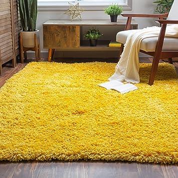 Super Area Rugs Ultra Fluffy Soft Handmade Shag Rug For Home Decor Non Skid Yellow 3 X 5 Furniture Decor