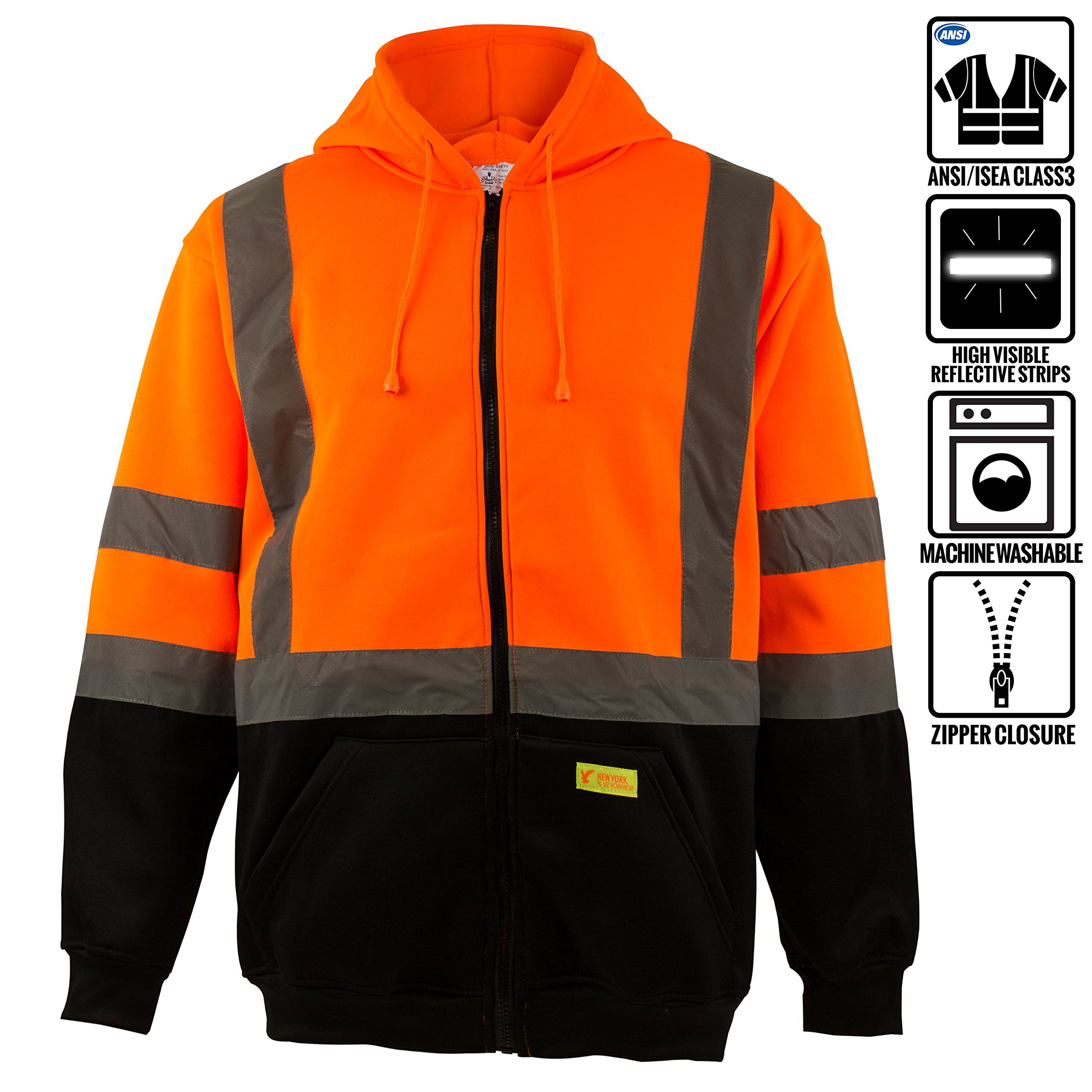 New York Hi-Viz Workwear H9011 Men's ANSI Class 3 High Visibility Class 3 Sweatshirt, Full Zip Hooded, Lightweight, Black Bottom (Extra Large)