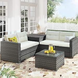 Merax 4 Piece Patio Conversation PE Rattan Wicker Garden Outdoor Furniture Sofa Set with Large Storage Box and Cushions, Beige