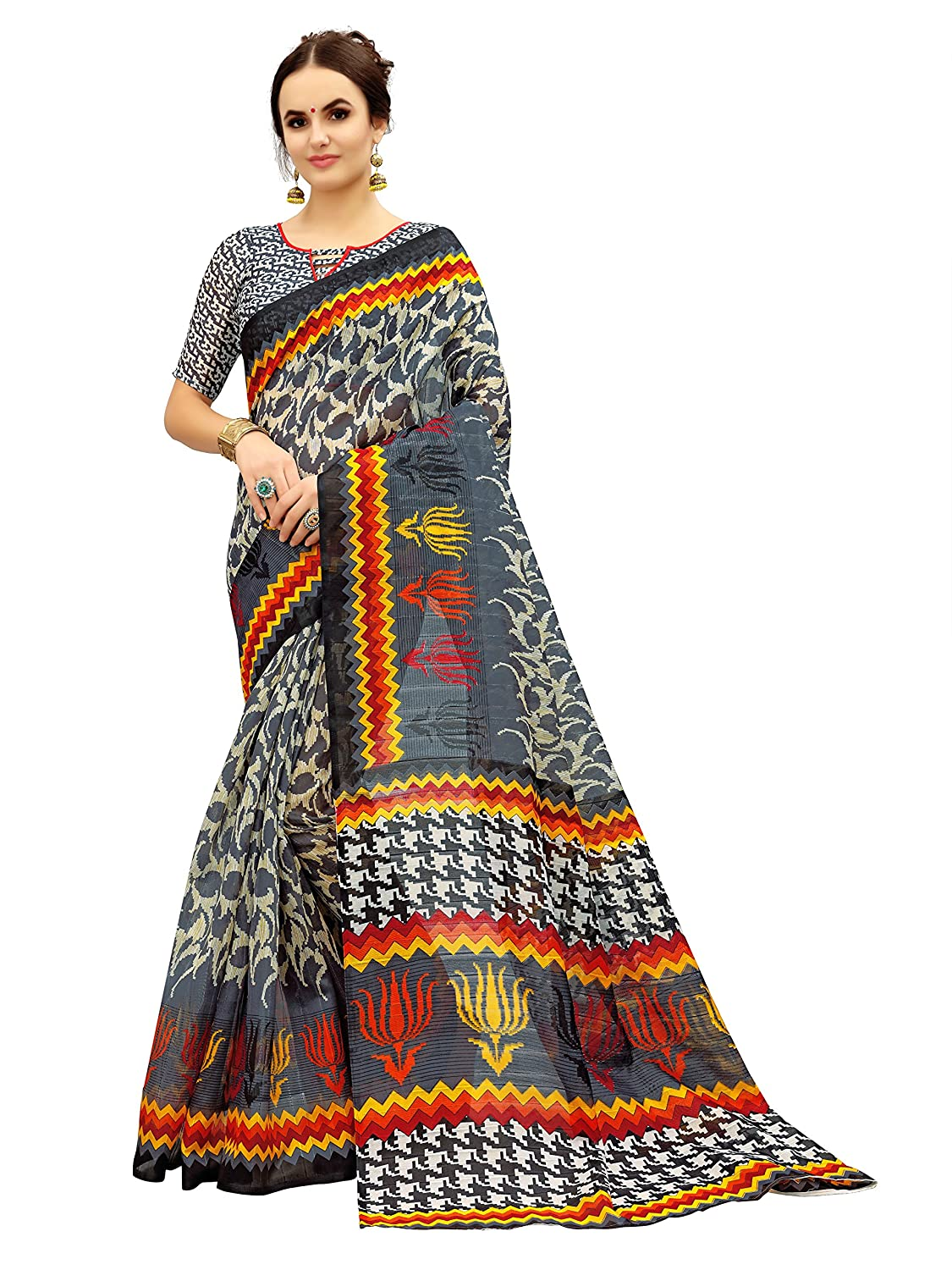 Glory Sarees Art Silk With Blouse Piece (gloryArt10_Grey_Free Size)