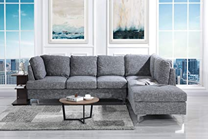 Awesome Tufted Linen 101 1 Inch Sectional Sofa Classic Living Room L Shape Couch Dark Grey Home Interior And Landscaping Fragforummapetitesourisinfo