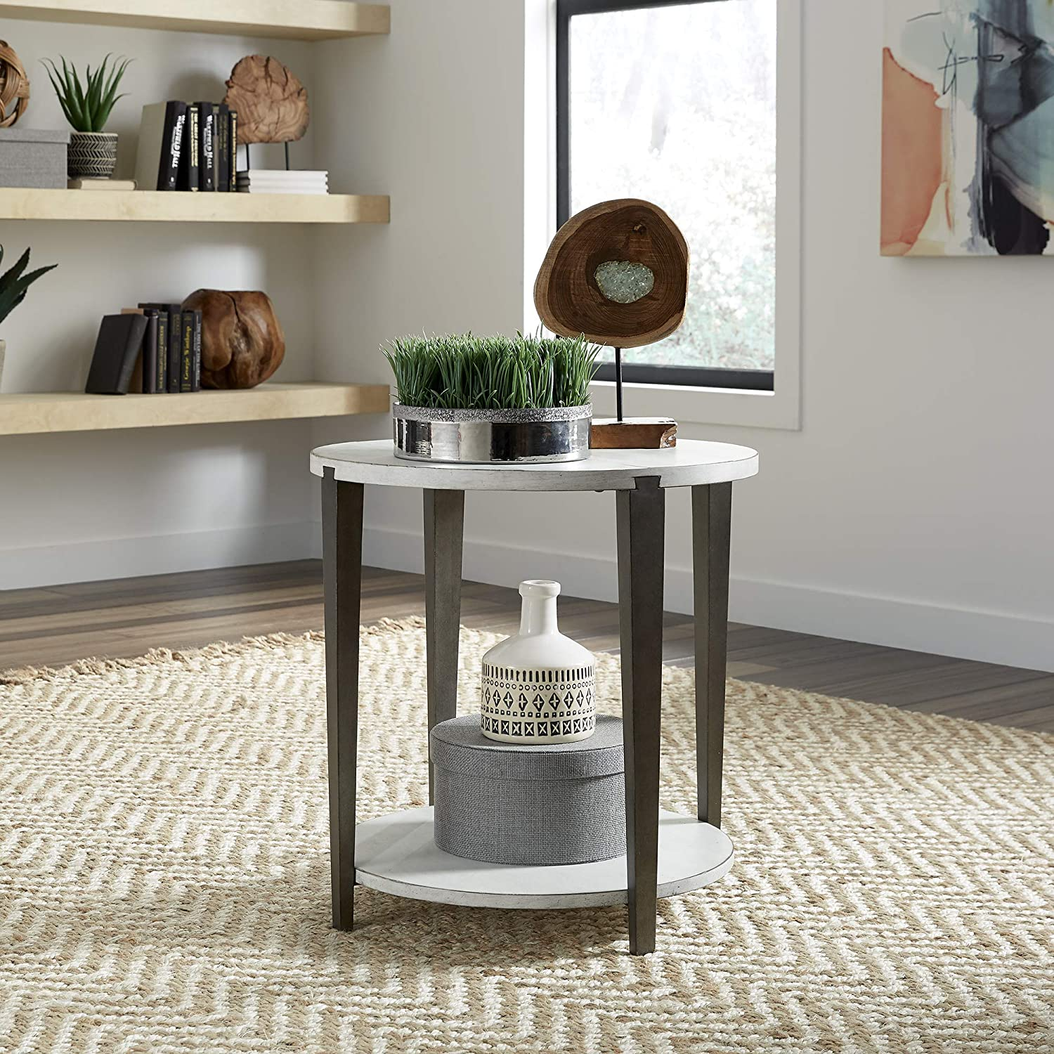 Liberty Furniture Industries Sterling Round End Table, W23 x D23 x H24, White