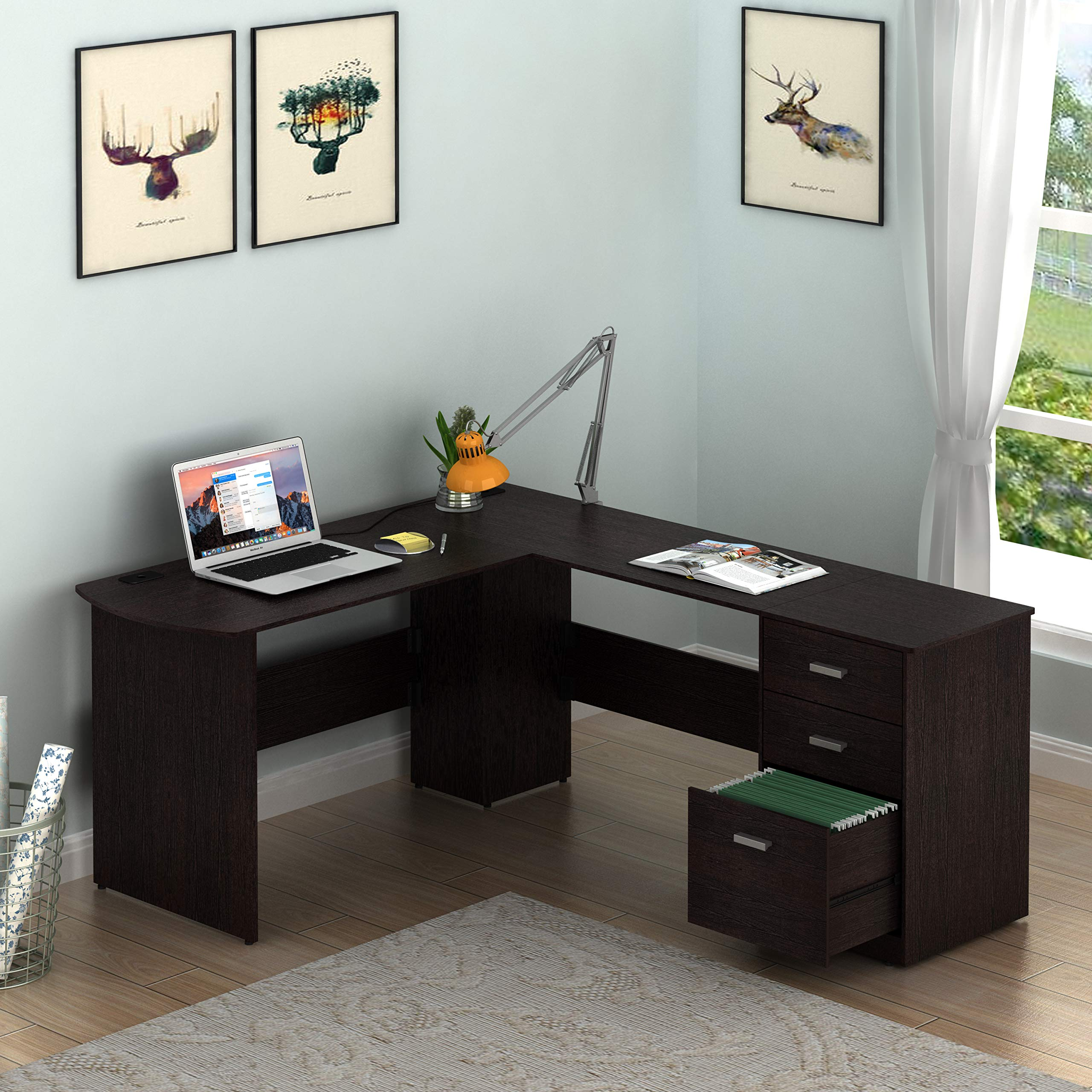 SHW L-Shaped Home Office Wood Corner Desk with 3 Drawers, Espresso by SHW