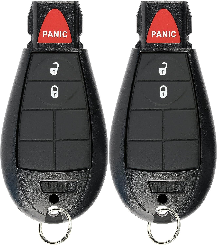 KeylessOption Keyless Entry Remote Car Key Fob Alarm for Dodge Ram Pack of 2 Jeep Cherokee GQ4-53T