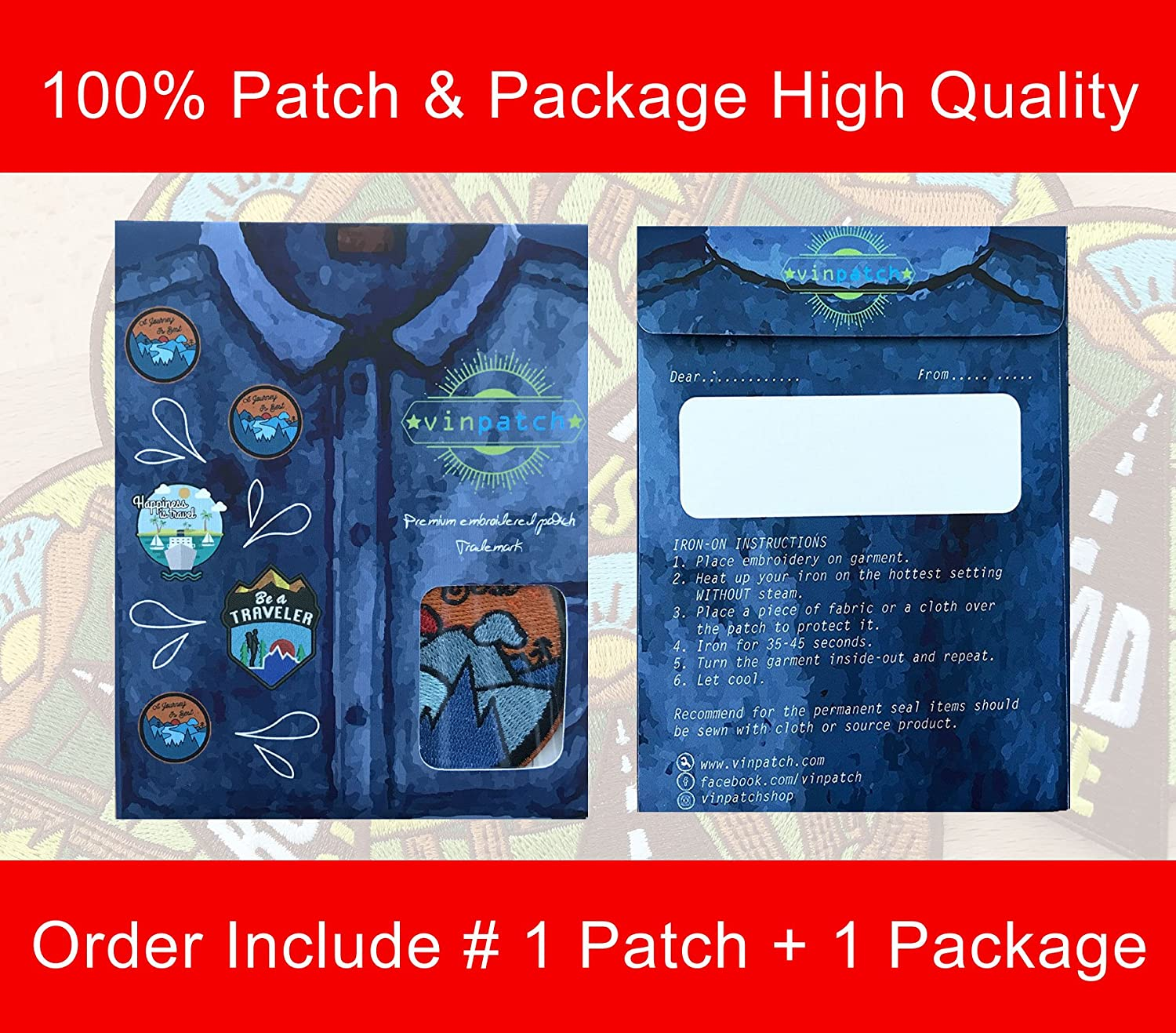 Amazon.com  Vinpatch Journey is Best Embroidered Sew On Iron on Patch -  Personalized Travel Patches Designed for Shirts Jackets Jeans and Backpacks  - Patch ... ecdcc3eee