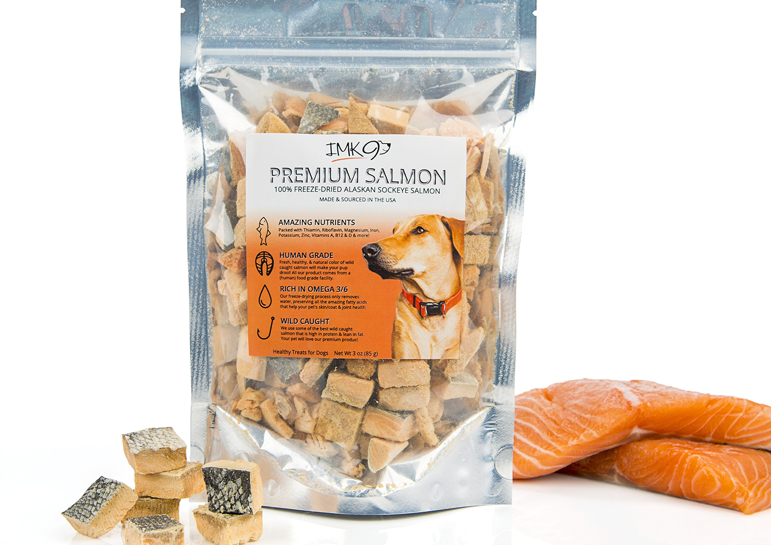 Salmon Dog Treats Made in USA All Natural Wild Alaskan Salmon Bites Freeze