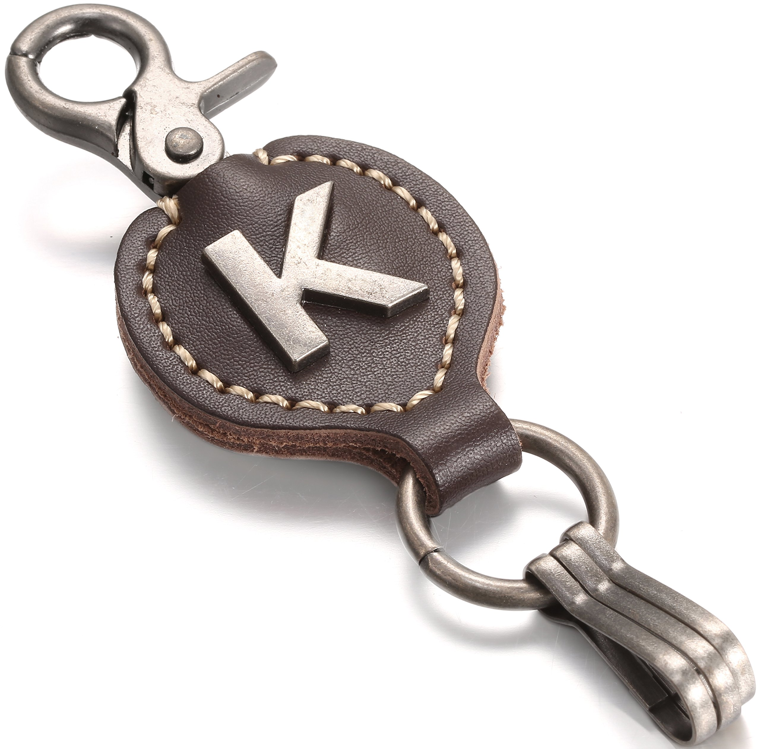 Brown Leather Alphabet Keychain, Single Letter with Easy Clasp Key - by Marino Ave - K - onesize