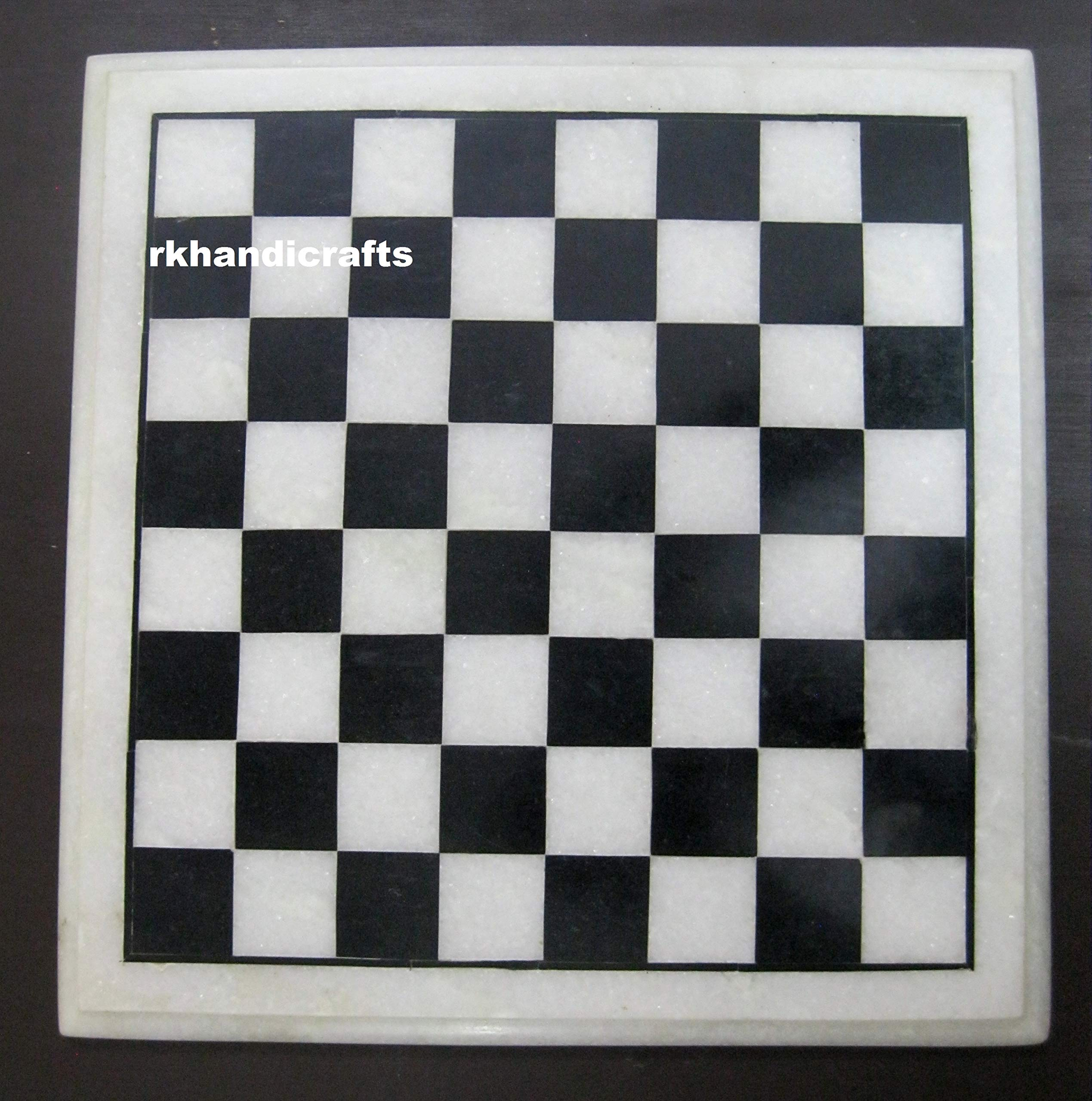 12 Inches White & Black Marble Chess Game Table Top Marquetry Art Handicraft Work by rkhandicrafts