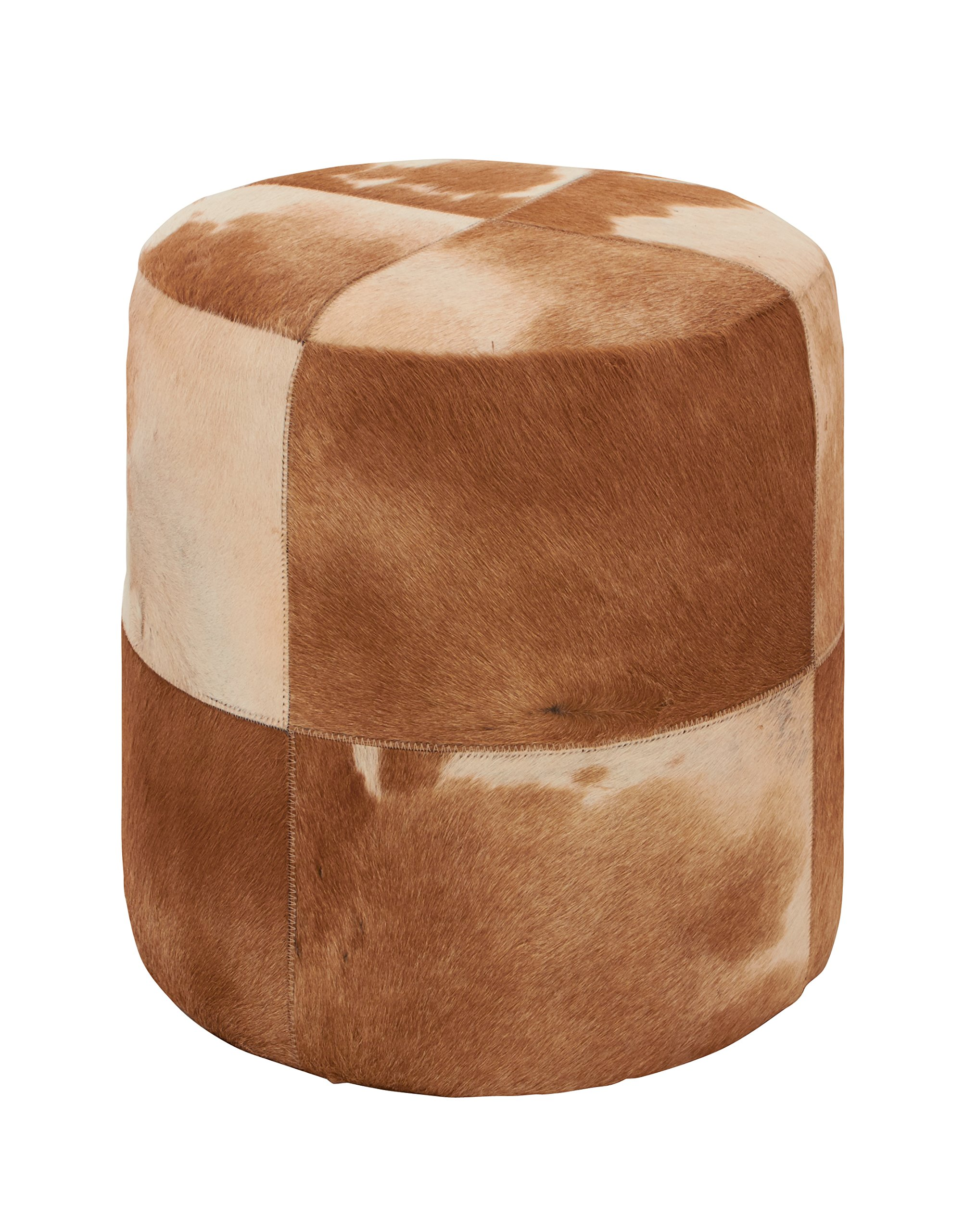 Deco 79 95921 Wood Leather Hide Ottoman, 16'' x 16'', Brown