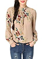 Abollria Women's Flower Print Long Sleeve Stand Collar Casual Chiffon Blouse Shirt Tops