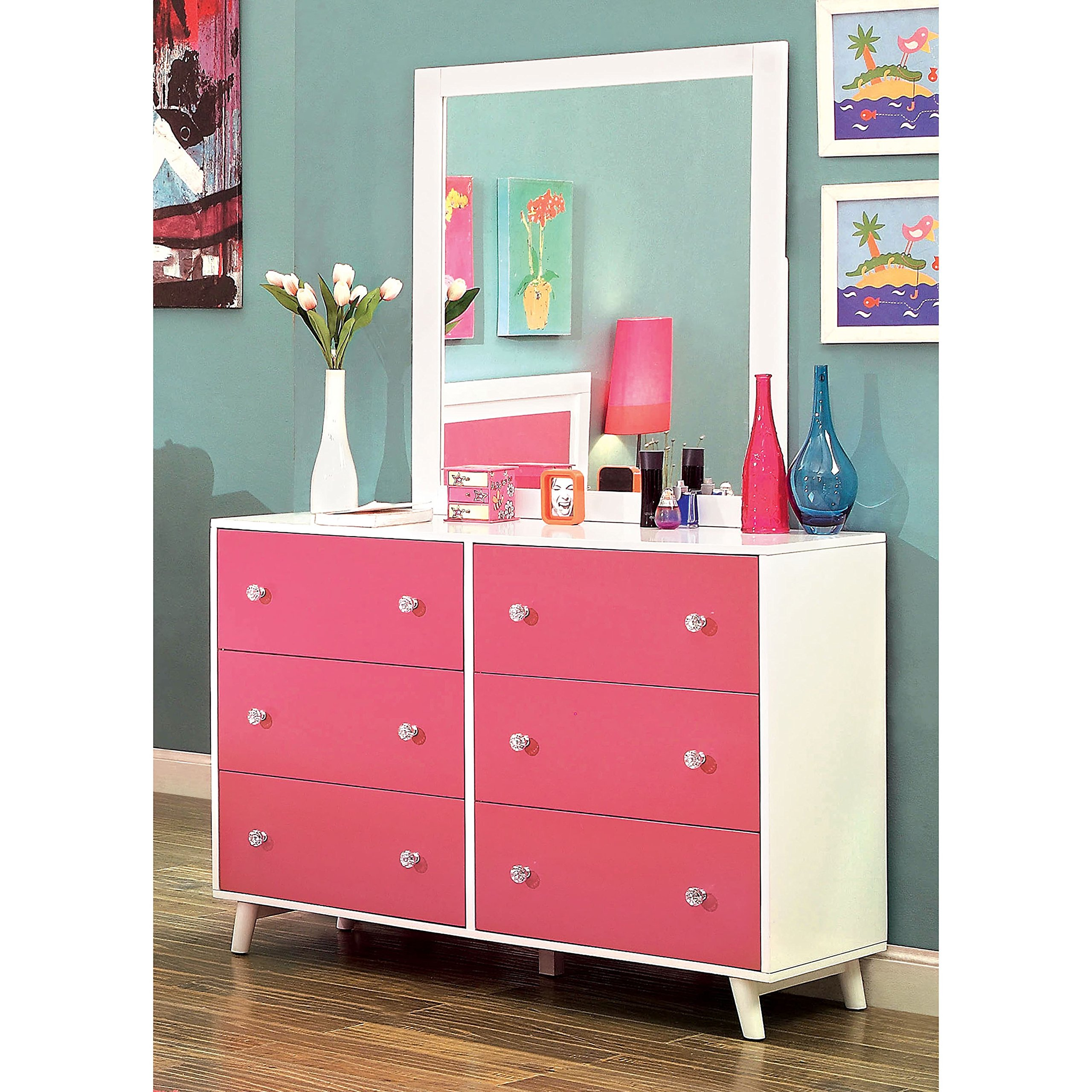 Furniture of America Kacie Modern 2-piece Pink/White Youth Dresser and Mirror Set by Furniture of America