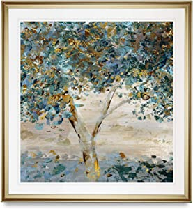 Renditions Gallery Hint of Twilight Painting Contemporary Artwork Tree Pictures Framed Art Landscape Giclee Prints Home Wall Décor, 16X16, Gold