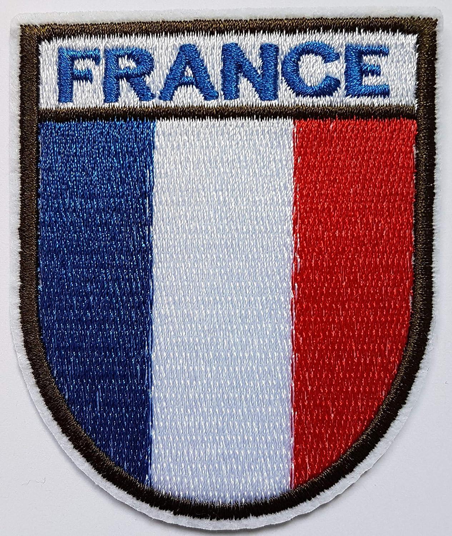 7,9x6,8cm Drapeau France Bleu Blanc Rouge Branches Olivier Patch Pays Flag Fran/çais /Écusson Tissus Thermocollant Cameleon-Shop