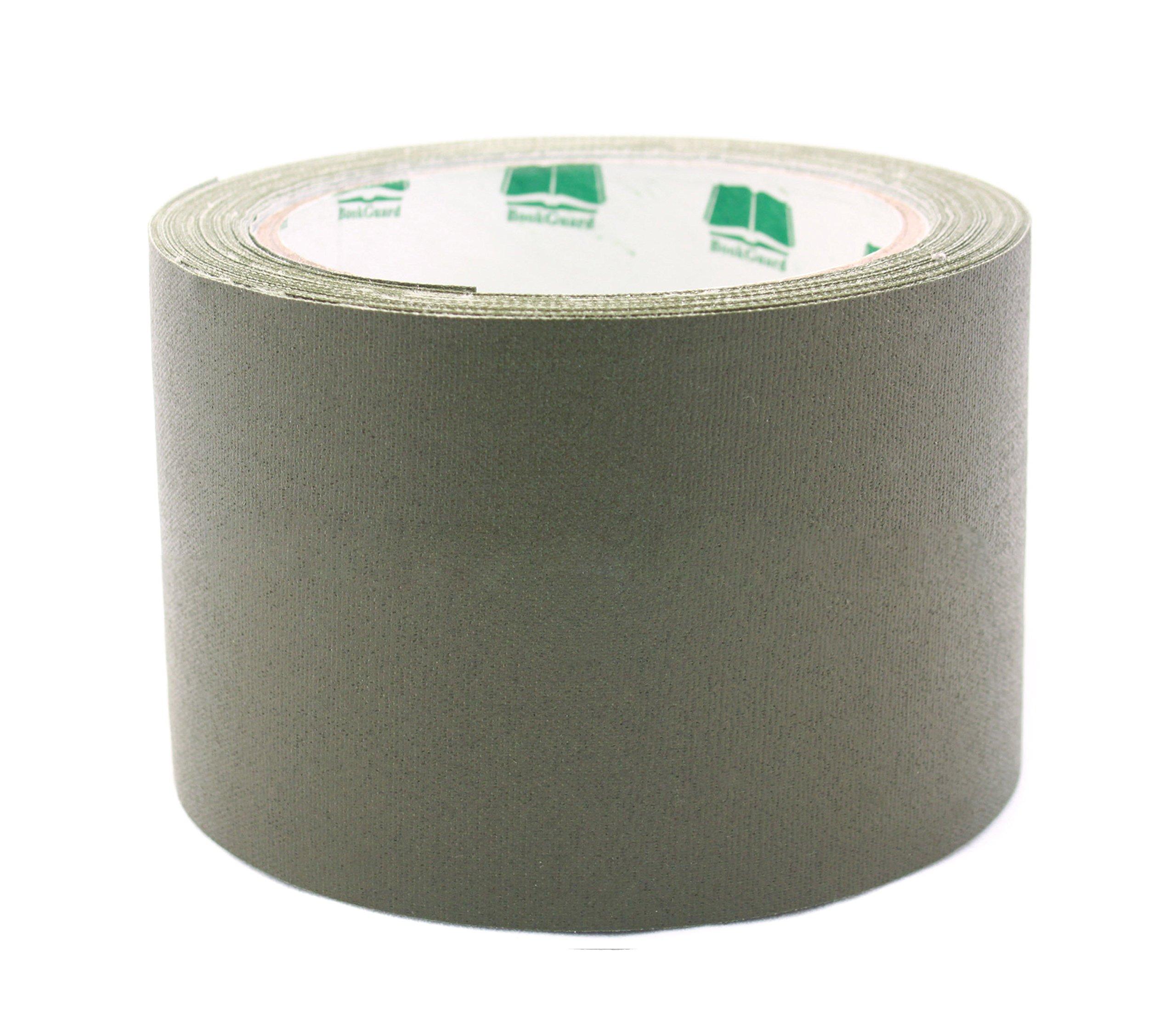 3'' Olive Colored Premium-Cloth Book Binding Repair Tape | 15 Yard Roll (BookGuard Brand)