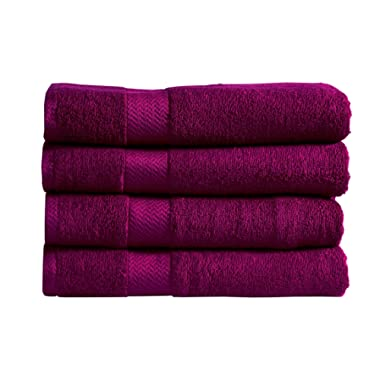 Divine 100% Ringspun Combed Cotton Premium Luxury Extra Large Turkish Bath Towels (30x54 Inch)–Set of 4,Plush,Soft,Absorbent,Machine-Washable,Quick-Dry,Eco-Friendly,SPA/Hotel Quality (Dark Purple)