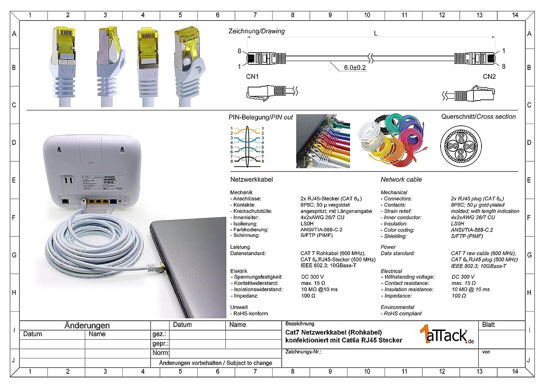 1 pz 0,5m 1aTTack.de Cavo di Rete Ethernet LAN Cat.7 SFTP Spina RJ45 Cat6a Doppia schermatura 10000 Mbit//s Compatibile con Cat5 Cat6 Cat6a Cat8 per Switch Router Modem Patchpanel Nero