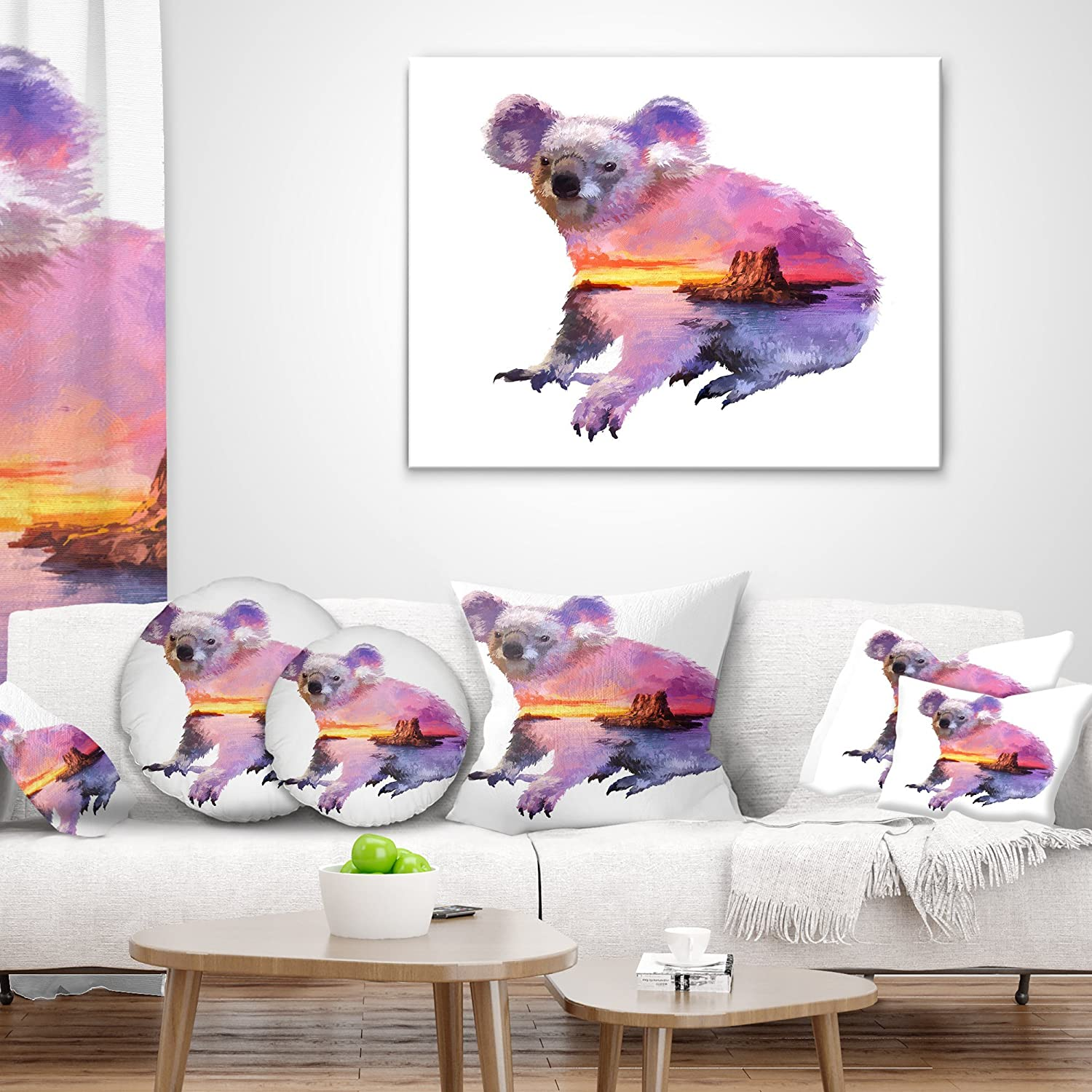 Designart CU14518-26-26 Koala Double Exposure Illustration Animal Cushion Cover for Living Room in Sofa Throw Pillow 26 in x 26 in