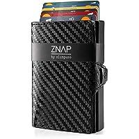 ZNAP Kartenetui mit Geldklammer aus Aluminium mit Münzfach - RFID Schutz - Slim Wallet Carbon/Schwarz - bis 12 Karten – Geld Clip von SLIMPURO (in 2 Varianten)