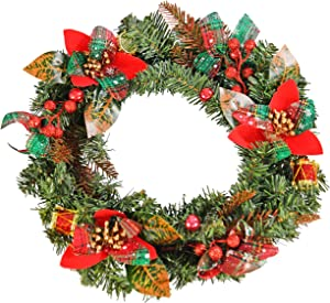 Home-X Front Door Christmas Wreath with Shimmering Bows and Ornaments, for Home Wall, Window, Staircase, Door Décor, Outdoor Winter Home Decorations-18""