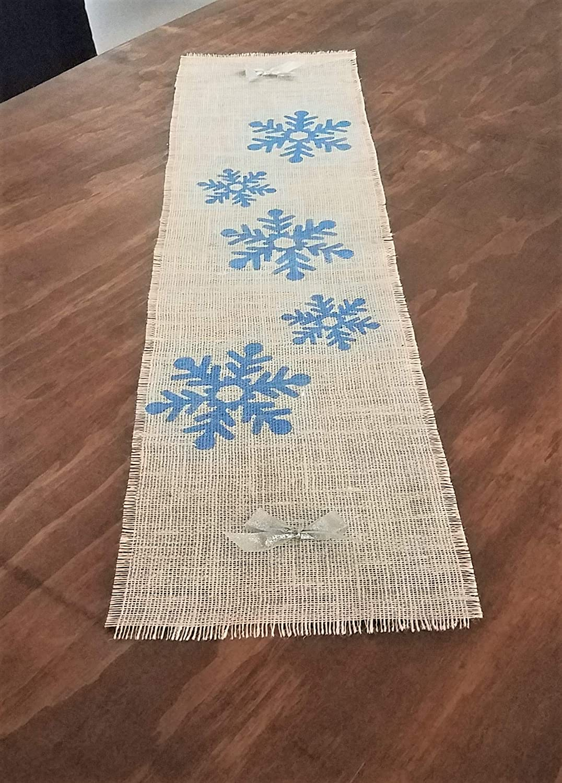 Christmas Table Runner To Make.Amazon Com Blue Snowflake Table Runner Winter Table