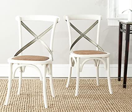 Safavieh American Homes Collection Eleanor Farmhouse X-Back Antique White  Dining Chair (Set of - Amazon.com - Safavieh American Homes Collection Eleanor Farmhouse X