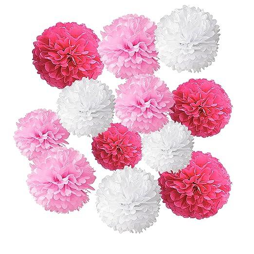 Wartoon Juego de 12 pompones de papel con forma de flor para boda, cumpleaños, fiesta, baby shower o decoración
