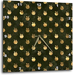 3dRose Chic Image of Gold Apples On Grunge Green Pattern - Wall Clocks (DPP_328641_1)