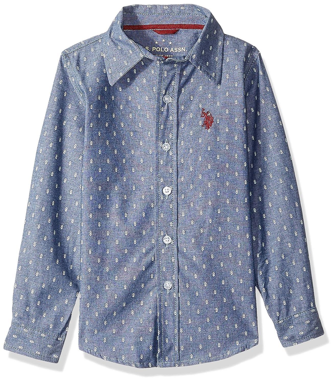 U.S Boys Long Sleeve Printed Chambray Woven Shirt POLO ASSN