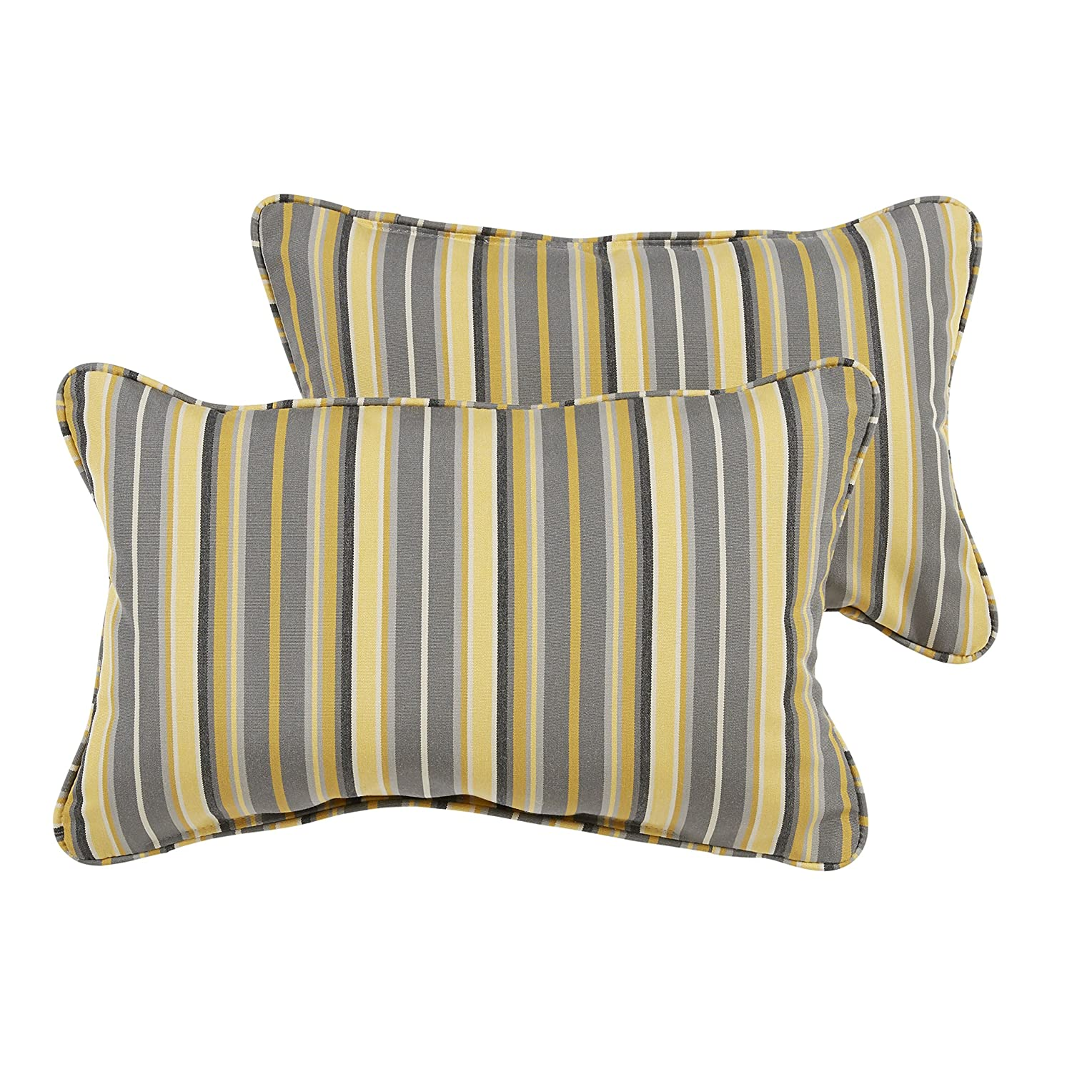 Mozaic AZPS6457 Indoor Outdoor Sunbrella Lumbar Pillows with Corded Edges, Set of 2 12 x 18 Yellow Grey Stripes