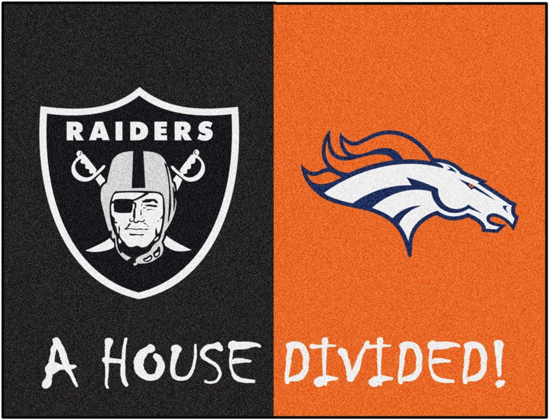 Orange,Team Color,33.75x42.5 FANMATS 20555 NFL Las Vegas//Denver Broncos Raiders House Divided Mat