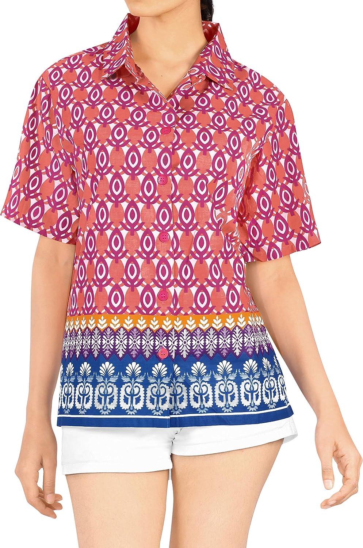 LA LEELA algodón Ligero 3 en 1 Aloha Caribe Loungewear señoras étnicas Corte estándar más el tamaño del botón Abajo Camisa de Manga Corta Azul ...