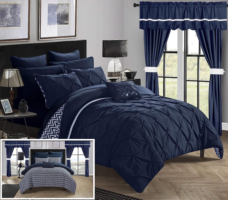 Chic Home Jacksonville 20 Piece Reversible Comforter, Queen, Navy