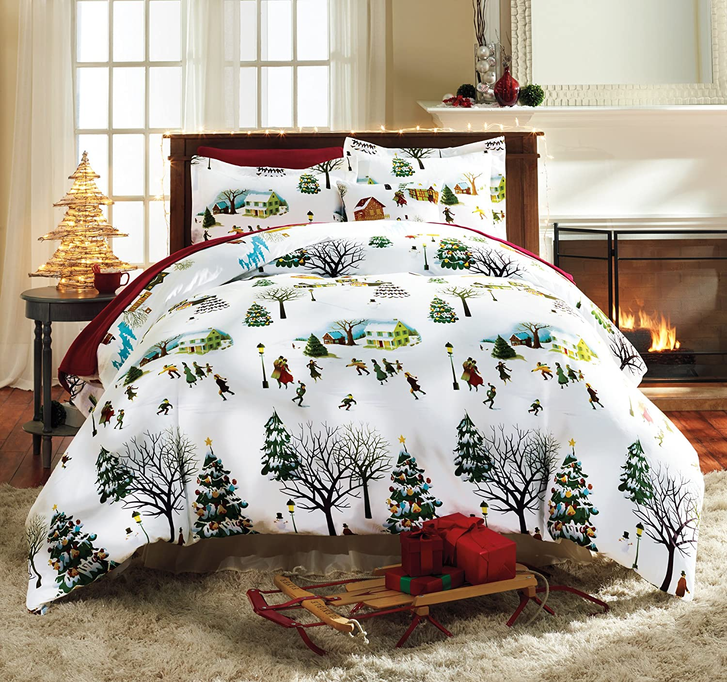 The Paragon Christmas Village Full/Queen Size Duvet Cover Set