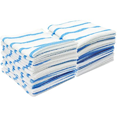 VIKING 539201 Bulk Edgeless Microfiber Cleaning Cloths 12 Inch x 12 Inch, White and Blue Stripe, 25 Pack: Automotive