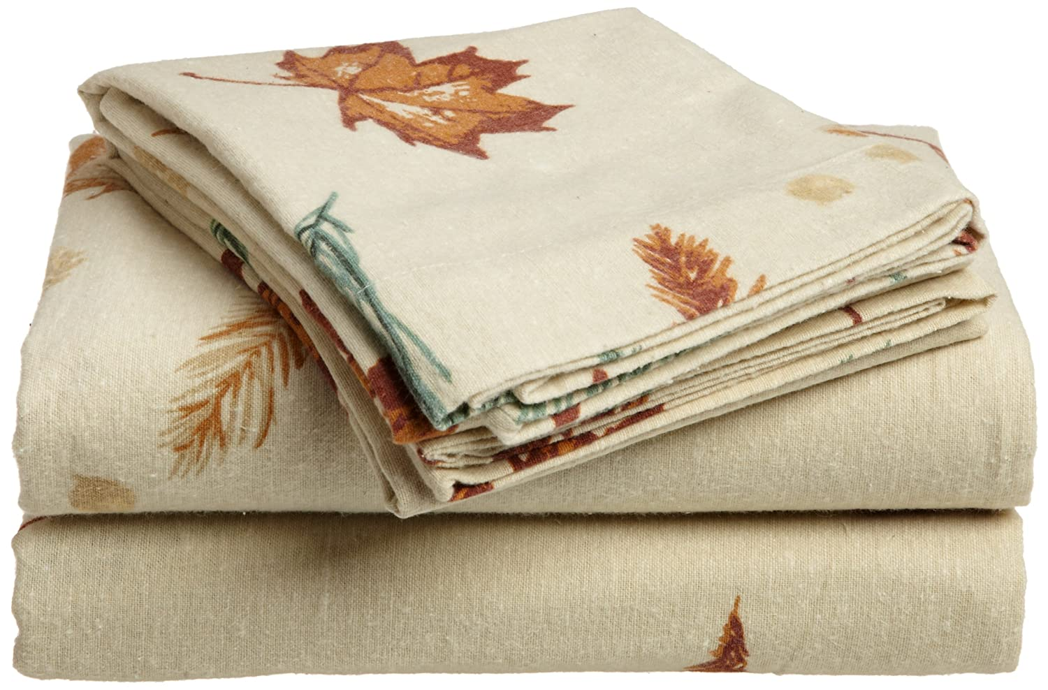 Divatex 100-Percent Cotton Flannel Queen Sheet Set, Autumn Leaf