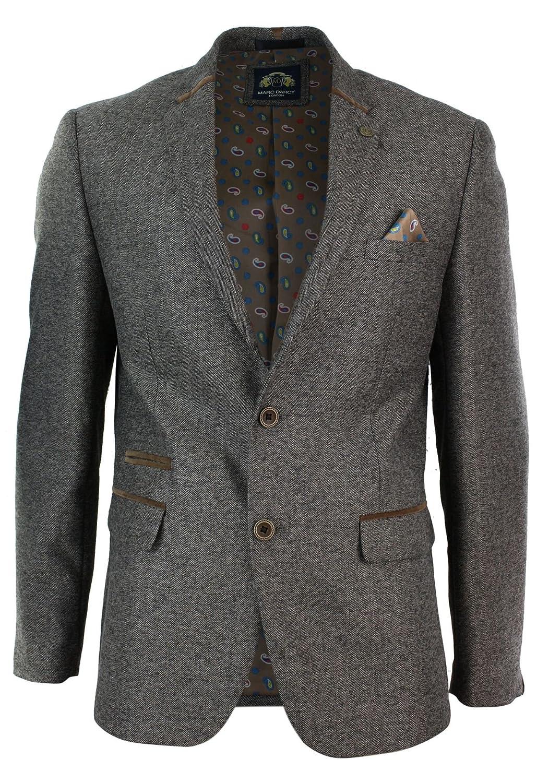 Herrensakko Tweed Fischgräte Design Grau Braun Eng Tailliert Lässig Designer