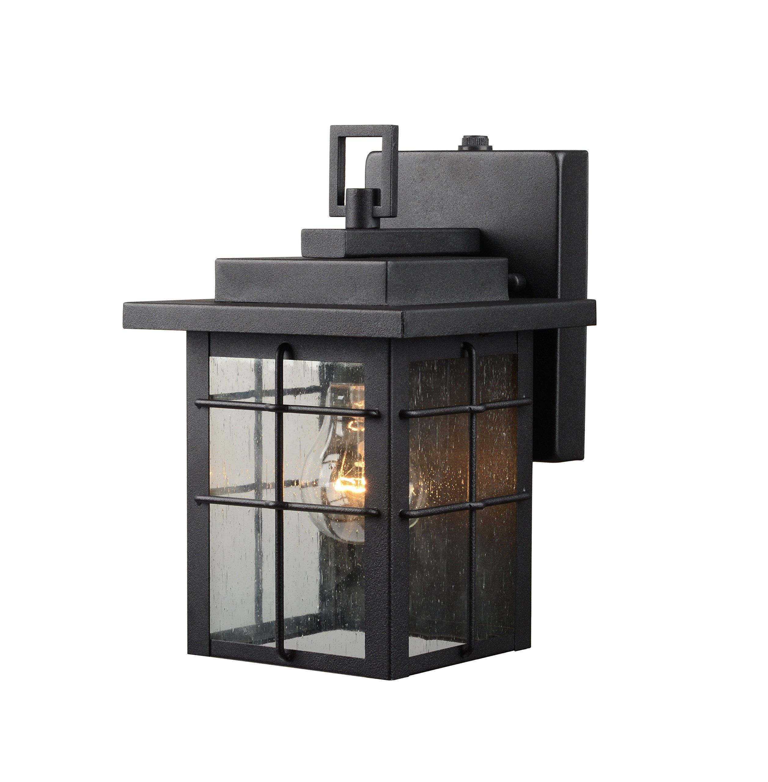 Hardware House 21-2359 Square Lantern w/Photo Cell, Black Finish - One Light by Hardware House