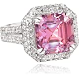 "Myia Passiello ""Cocktail Ring"" Asscher Cut Swarovski Zirconia Fancy Pink Ring"
