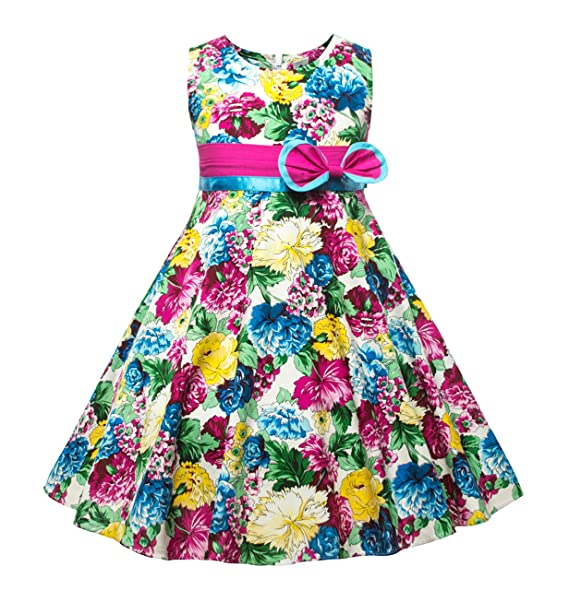 6b7aaf3089a Amazon.com  CIELARKO Girls Dress Flower Print Kids Sun Dresses for 2 ...